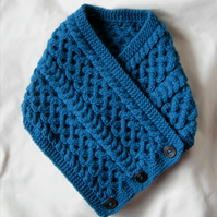 Hand knitted deep petrel blue Celtic cable pattern neckwarmer cowl