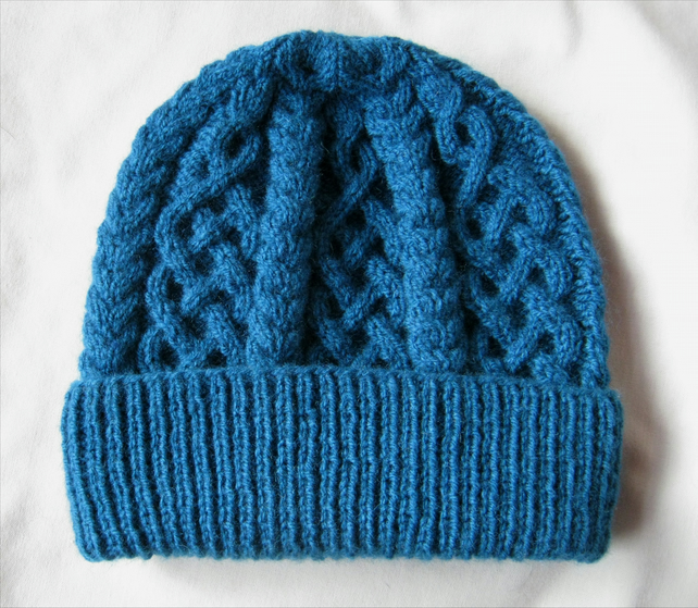 Hand knitted deep petrel blue Celtic cable pattern hat
