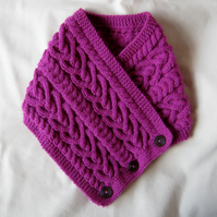 Hand knitted raspberry pink Celtic heart cable pattern neckwarmer cowl