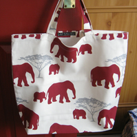 Shopping tote bag in 100% cotton - elephant silhouette print -  bag for life