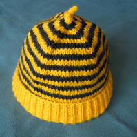 Bumblebee baby beanie hat - 3 to 6 months or 6 to 12 months