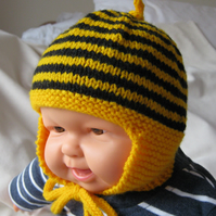 Bumblebee baby earflap hat - 3 to 6 months or 6 to 12 months