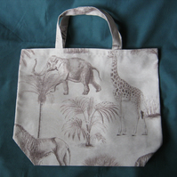 Shopping tote bag in cotton rich medium weight fabric - beige with brown animals
