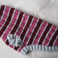 "Dog sweater in grey, maroon & dusky pink stripes chest 18"" to 20"", length 17"""