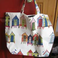 Shopping tote bag in 100% cotton - beach huts print -  bag for life