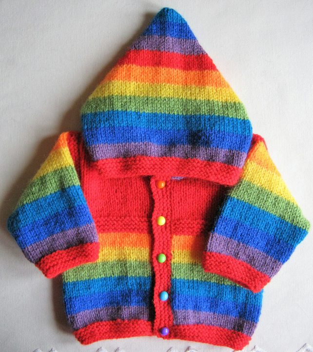 Hand knitted red rainbow hooded jacket for baby boy or girl aged 0 to 3 months