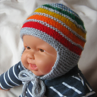 Grey rainbow earflap hat in three sizes - hand knitted