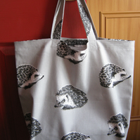 Shopping tote bag in 100% cotton - hedgehogs print -  bag for life