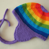 Violet purple rainbow earflap hat for baby 3 to 6 month or 6 to 12 months