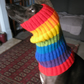 "Dog snood or neckwarmer in rainbow stripes neck 14"" to 17"", length 13"""