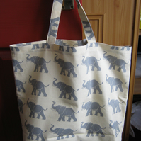 Shopping tote bag in 100% cotton - grey elephants print -  bag for life