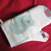 Oven glove in coffee time print cotton fabric
