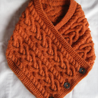 Hand knitted burnt orange Celtic heart cable pattern neckwarmer cowl