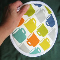Kitchen pot holder in coffee mugs cotton fabric
