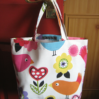 Kids' tote bag or book bag in 100% cotton canvas - ivory birds print