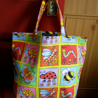 Kids' tote bag or book bag in 100% cotton canvas - multi insects print