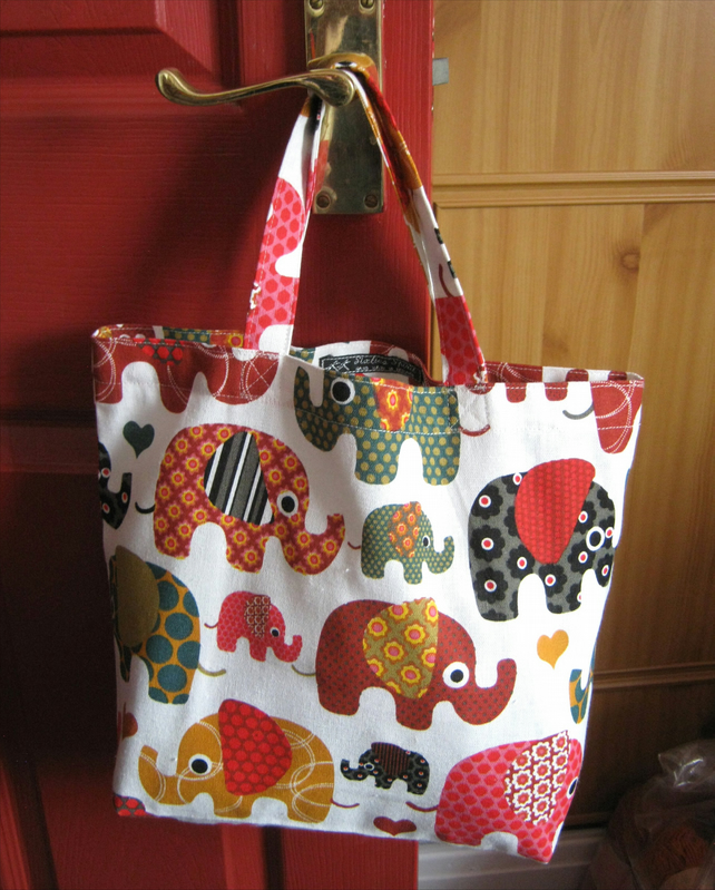 Kids' tote bag or book bag in 100% cotton canvas - multi elephant print