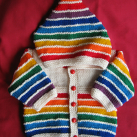 Cream rainbow striped hooded jacket for baby 0 to 3 months