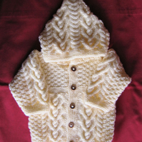 Cream Celtic heart cable hooded jacket for baby 3 to 6 months