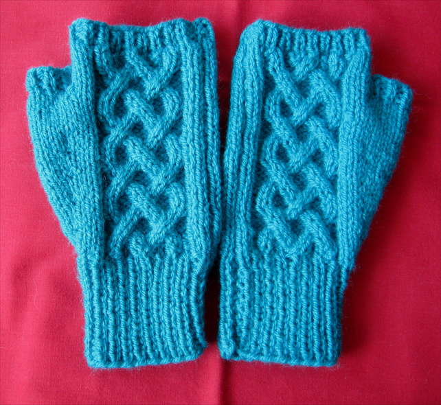 Light jade Celtic knot cable pattern fingerless mitts