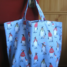 Shopping tote bag in 100% cotton - blue penguin print -  bag for life