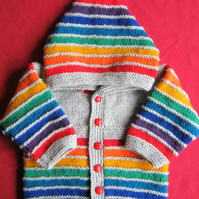 Pale grey rainbow striped hooded jacket for baby 3 to 6 months