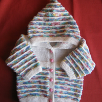 White multi hooded jacket for baby girl 3 to 6 months