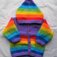 Hand knitted violet rainbow hooded jacket for baby aged 6 to 12 months