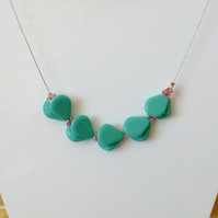 Turquoise and Pink Bead Necklace