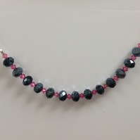 Grey and Pink Bead Necklace
