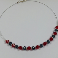 Grey and Red Bead Necklace