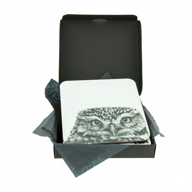 Little Owl Coaster - FREE UK DELIVERY - Little Owl in Black and White