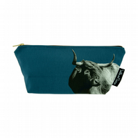 Highland Cow Luxury Wash Bag - Indigo - FREE UK DELIVERY