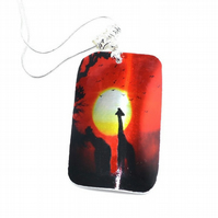 Modern giraffe sunset necklace, heat printed recycled aluminium necklace
