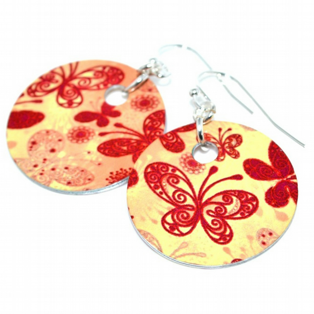 Red and yellow butterfly earrings, heat printed aluminium earrings