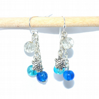 Summer seaside turtle earrings, blue crackle glass earrings