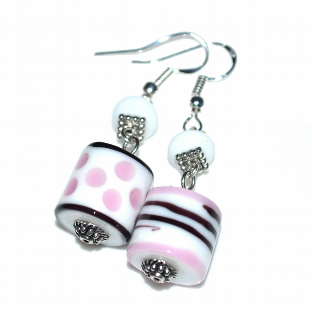 Dots and stripes earrings, lampwork glass artisan earrings