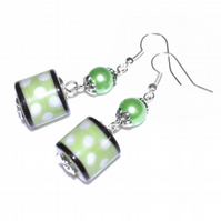 Green dotty lampwork earrings, glass artisan earrings