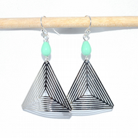 Mint green glass triangle earrings, geometric triangle artisan earrings
