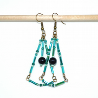 Teal chandelier earrings, antique bronze earrings, bohemian dangle drop earrings