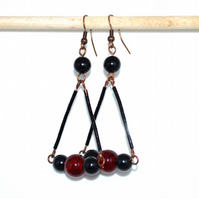 Red and black chandelier earrings, antique bronze earrings, bohemian earrings