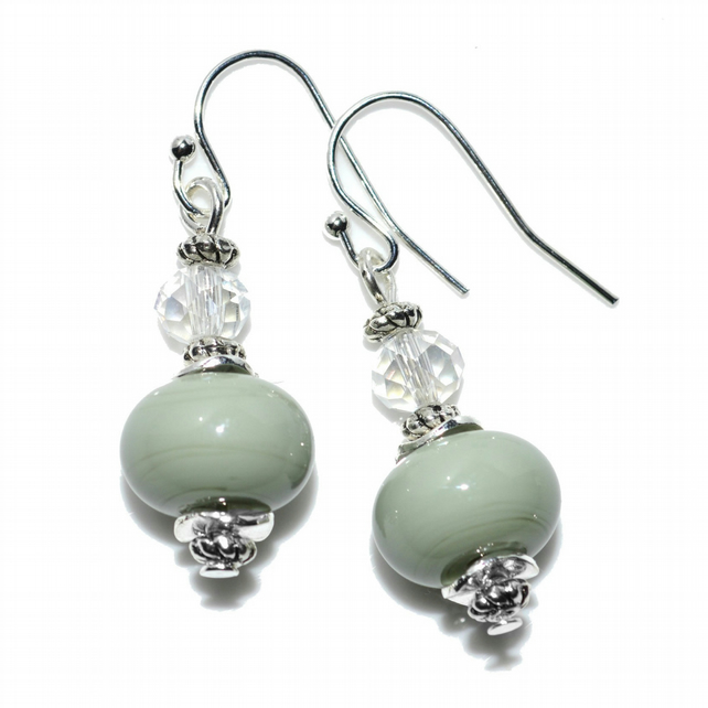 Pistachio lampwork earrings, artisan designer glass jewellery