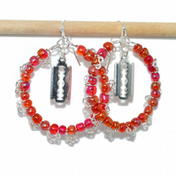 Hoop earrings with razor blade charms and red beads earrings