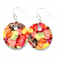 Jelly baby disc earrings, heat printed aluminium earrings
