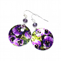 Purple Pansy flower disc earrings, heat printed aluminium earrings