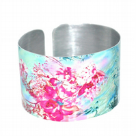 CLEARANCE SALE - Turquoise pink and teal lightweight cuff bangle