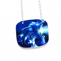Blue Dragon fantasy pendant necklace, lightweight aluminium panel necklace