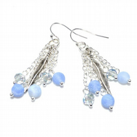 Feathers blue agate and crystal earrings