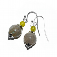 Labradorite and Peridot gemstone earrings, August birthday anniversary earrings