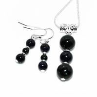 Blue and green Goldstone jewellery set